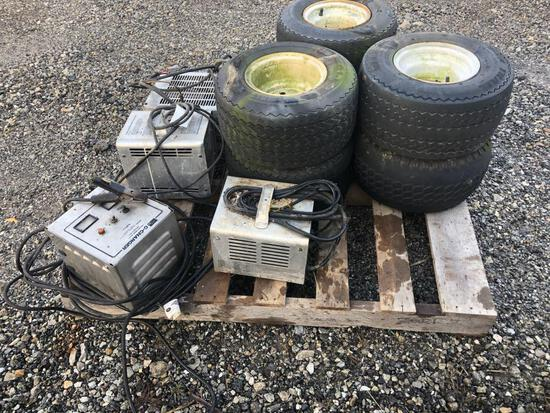 (6) Golf Cart Tires and Rims and (4) Chargers
