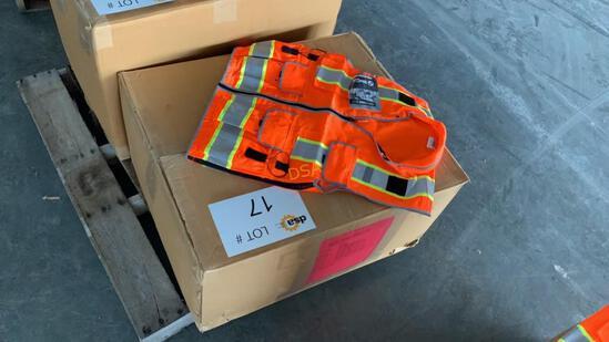 Box of 68 - Unused Surveyors Safety Vests,
