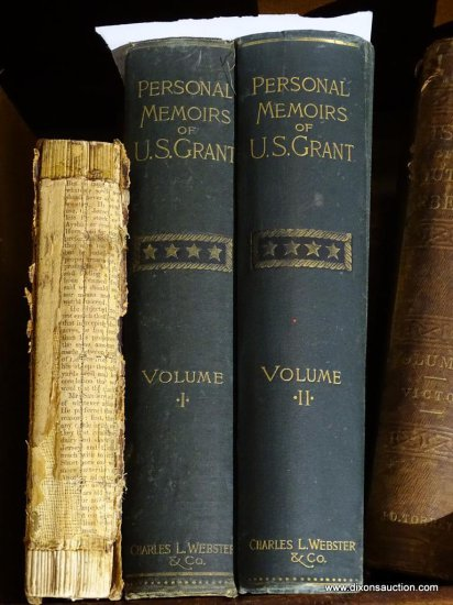 (DWNSTRS FAM RM) 3 ANTIQUE BOOKS ON U.S. GRANT: 2 VOLUMES OF THE PERSONAL MEMOIRS OF U.S. GRANT