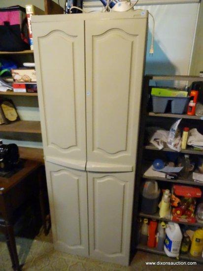 """(UTILITY RM) 2 DOOR VINYL STORAGE CABINET: 25.5""""x17.5""""x69"""""""