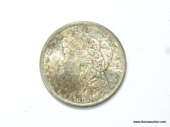 1881-S GEM BU FULL STRIKE MORGAN SILVER DOLLAR, MS65+, NATURAL TONING.