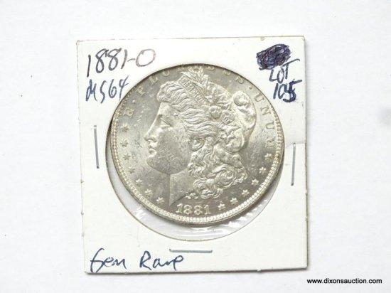 1881-O MS64 SEMI KEY DATE MORGAN SILVER DOLLAR, FULL CARTWHEEL.