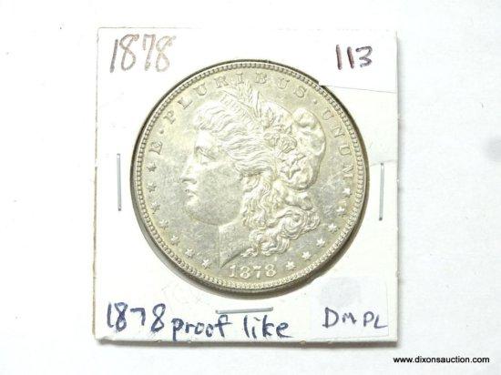 1878-P MS65 SEMI PROOF LIKE MORGAN SILVER DOLLAR, RARE.