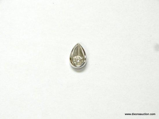 LADIES 14K WHITE GOLD .20 PT. DIAMOND SLIDE, 1.3 GRAMS.
