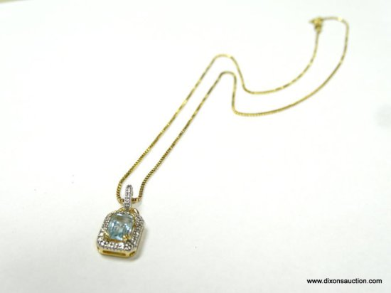 """14K YELLOW GOLD 18"""" BOX CHAIN WITH 1 CT. BLUE TOPAZ PENDANT, 3.7 GRAMS."""