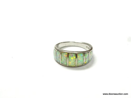LADIES .925 STERLING SILVER 3 CT. INLAID OPAL RING, SIZE 7. GREAT COLOR PLAY.
