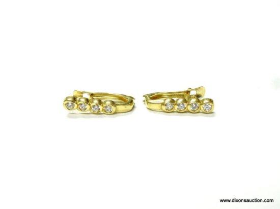 LADIES 14K YELLOW GOLD 1/4 CT. DIAMOND BEZEL SET EARRINGS, 2.3 GRAMS.