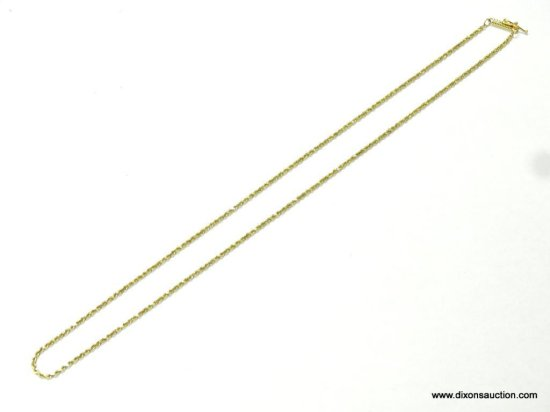 "UNISEX 14K YELLOW GOLD 18"" ROPE NECKLACE, 3.8 GRAMS."