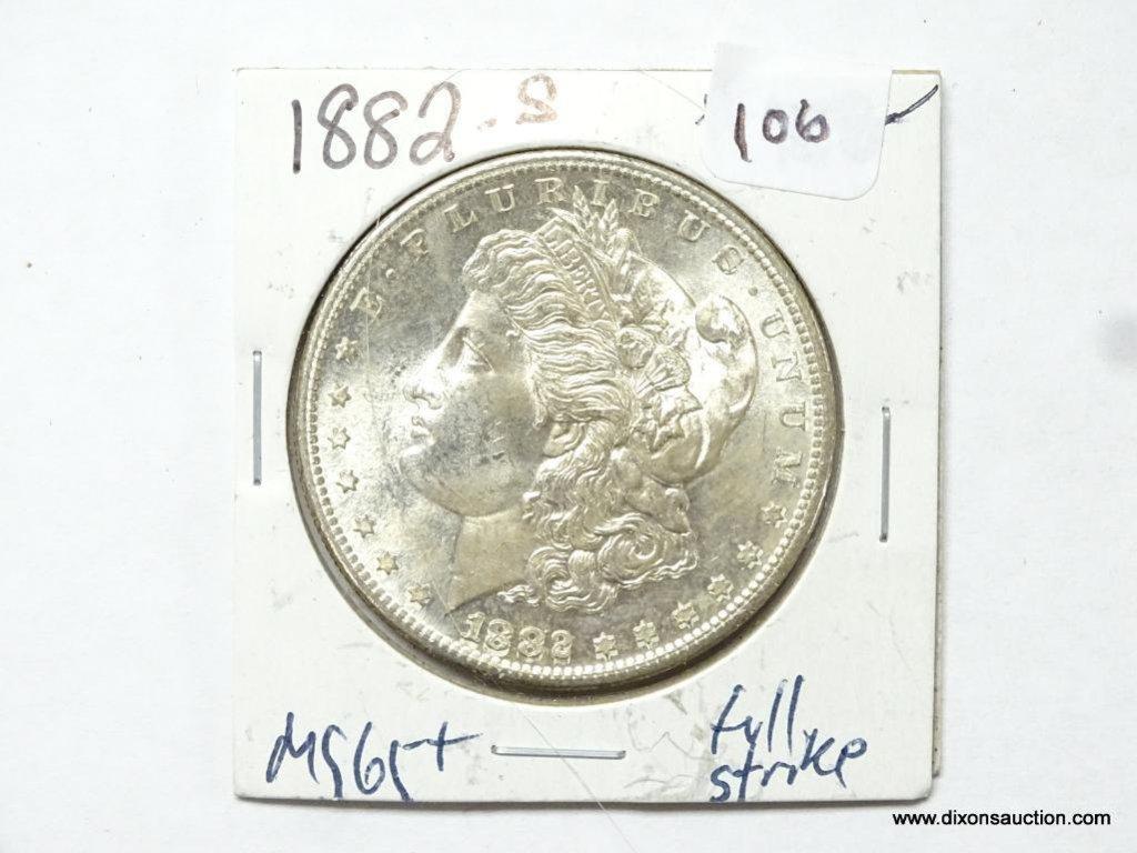 1882-S GEM BU FULL STRIKE MORGAN SILVER DOLLAR, FULL BREAST FEATHERS.
