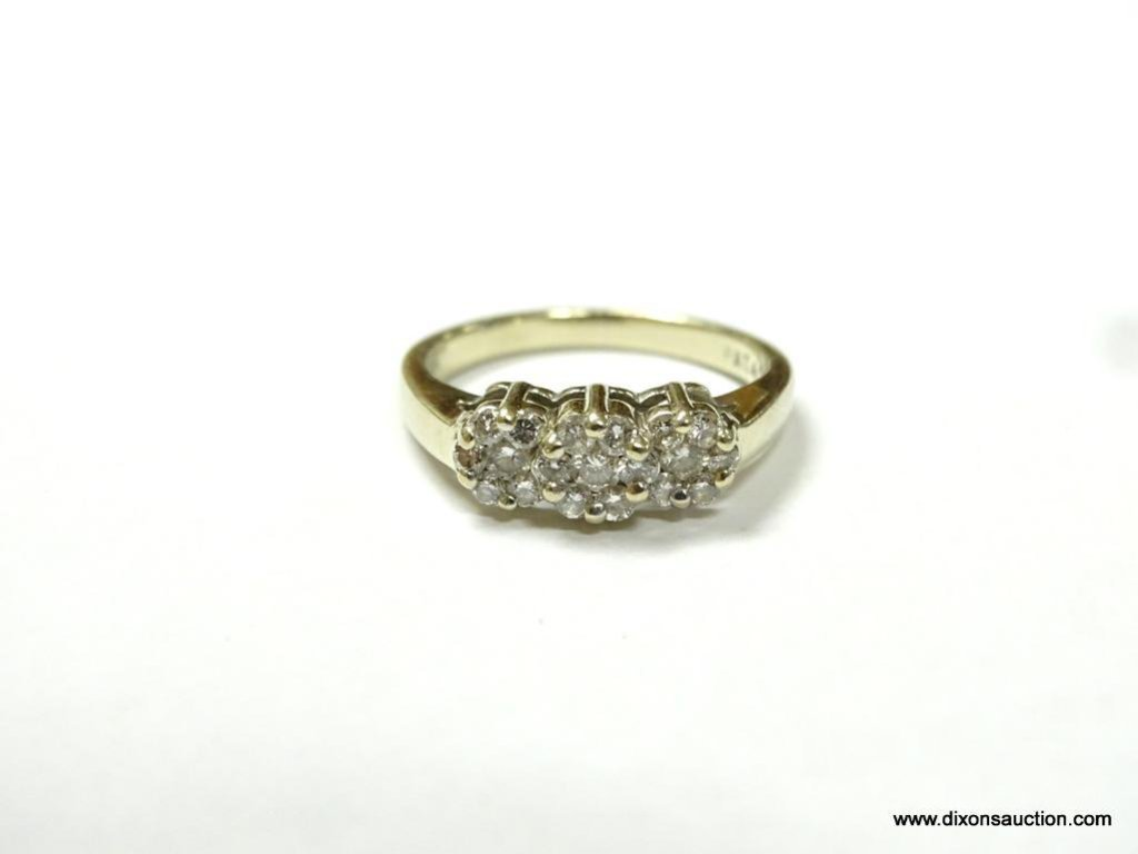 LADIES 14K YELLOW GOLD 1/3 CT. PAST, PRESENT & FUTURE RING, SIZE 6, 3.6 GRAMS.