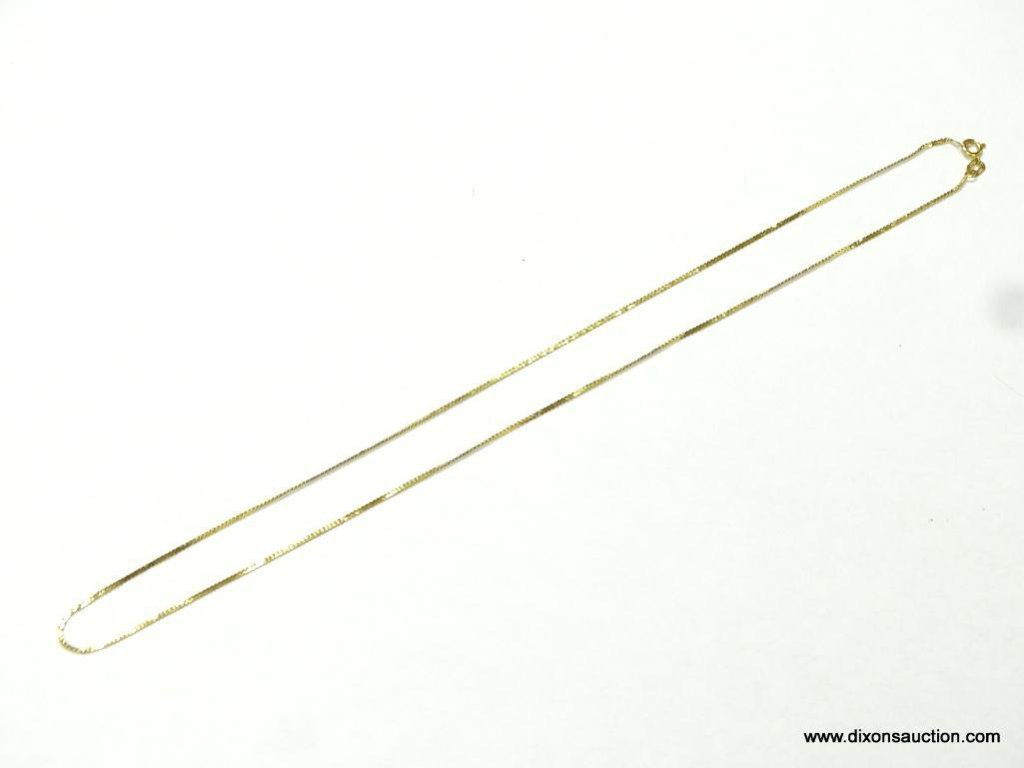 "UNISEX 14K YELLOW GOLD 16"" NECKLACE, 1.2 GRAMS."