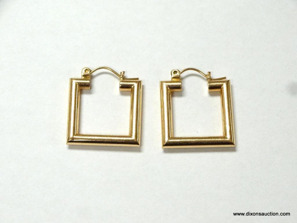 LADIES 14K YELLOW GOLD ART DECO STYLE EARRINGS, 2.4 GRAMS.