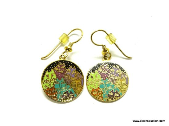 "LAUREL BURCH SIGNED VINTAGE CAT EARRINGS TITLED "" FANTASTICATS"". DISC .75"" ACROSS."