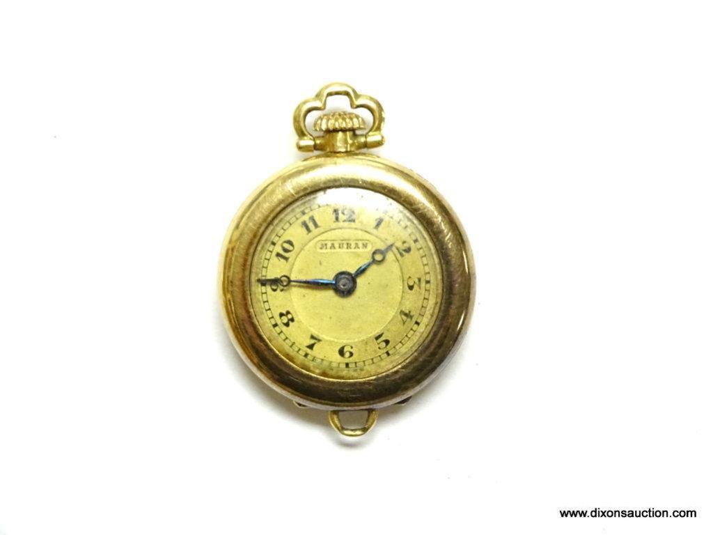 14K YELLOW GOLD LADIES LAPEL 15 JEWEL M. MICOLET & CO. SWISS WATCH 12.4 GRAMS