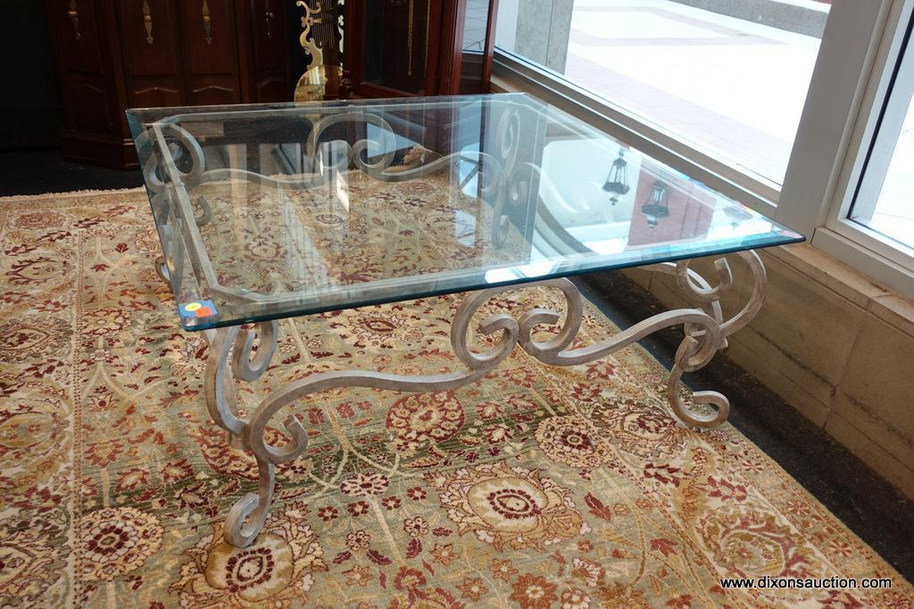 Lot Win Square Glass Top Coffee Table Scrolling Wrought