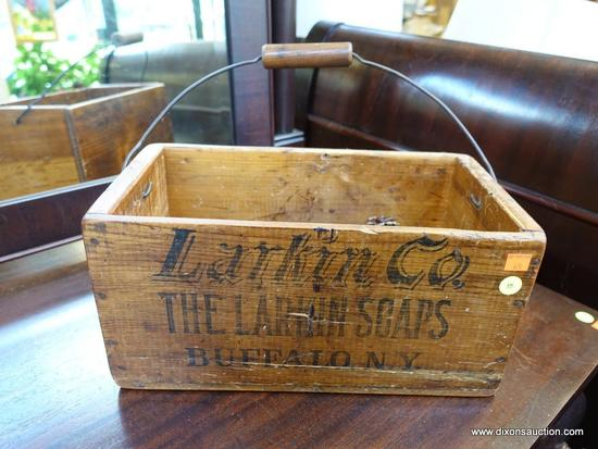 Row 1 Antique Wooden Larkin Soap Advertising Box With Handle 8w X