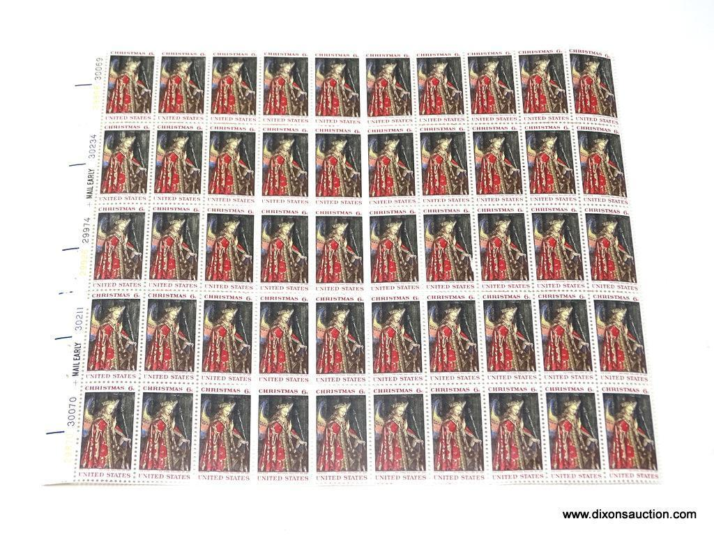 CHRISTMAS 6 CENT UNCUT STAMP SHEET 50 TOTAL