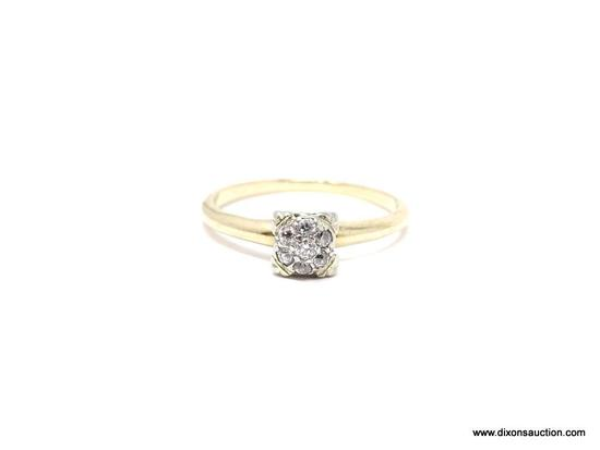 VINTAGE 14K YELLOW GOLD DIAMOND ENGAGEMENT RING. RING WAS PREVIOUSLY SIZED AND JEWELER WAS FORCED TO