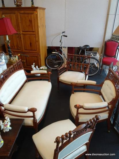 ANTIQUE VICTORIAN WALNUT STICK AND BALL PARLOR SET; INCLUDES 4 TOTAL PIECES---- SETTEE, A PAIR OF