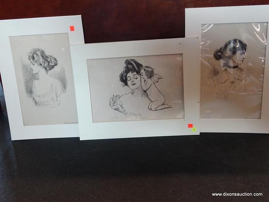 """UNFRAMED MATTED GIBSON GIRL PRINTS; TOTAL OF 3 PIECES. INCLUDES """"THE STORY OF HIS LIFE""""- COPYRIGHT"""