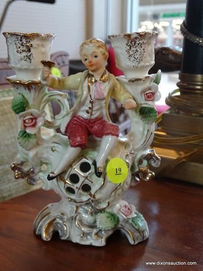 (WIN) VINTAGE UCAGCO PORCELAIN VICTORIAN CANDLESTICK; HOLDS 2 TAPER CANDLES, PAINTED IN PASTELS WITH