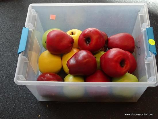 (WIN) DECORATIVE FAUX APPLES; SMALL STORAGE BIN FILLED WITH 16 INCREDIBLY LIFE-LIKE APPLES MADE OF A