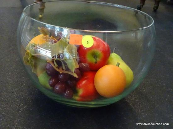 (WIN) DECORATIVE GLASS BOWL FILLED WITH ARTIFICIAL FRUIT; BOWL MEASURES 11.5 IN DIAMETER AND 8.5 IN