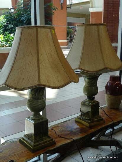 (WIN) MARBLE TABLE LAMPS; TOTAL OF 2, GREEN IN COLOR WITH BEIGE LAMPSHADES. VERY HEAVY SOLID MARBLE,