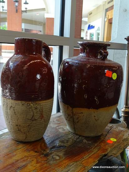 (WIN) PAIR OF GLAZED JUGS; REDDISH BROWN AND TAN IN COLOR, MADE BY THREE HANDS CORPORATION, A