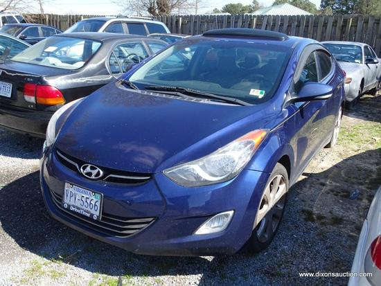 2012 BLUE HYUNDAI ELANTRA LIMITED; VIN 5NPDH4AE8CH081039. 1.8 LITER DOHC. THIS VEHICLE GOT A FLAT