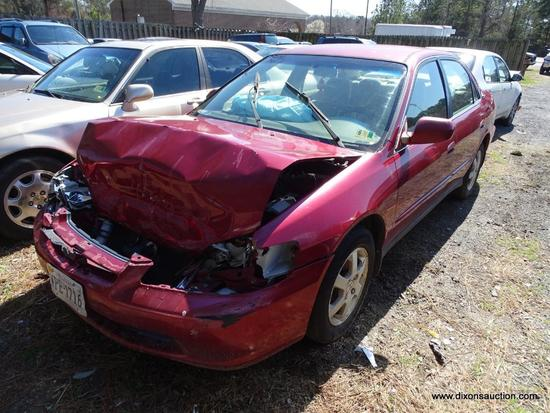 2000 RED HONDA ACCORD SE; VIN JHMCG6690YC012546.THIS CAR WAS IN AN ACCIDENT AND HAS FRONT END