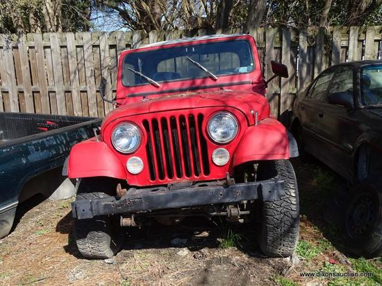 1978 RED JEEP WRANGLER CJ ; VIN-. THIS JEEP WAS IN AN ACCIDENT ON INTERSTATE 95 WHERE A WHEEL FELL
