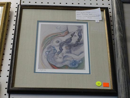 """(WALL1) """"OYSTER NUDE"""" BY SALVADOR DALI; SIGNED AND NUMBERED LIMITED EDITION GICLEE 87/175. """"OYSTER"""