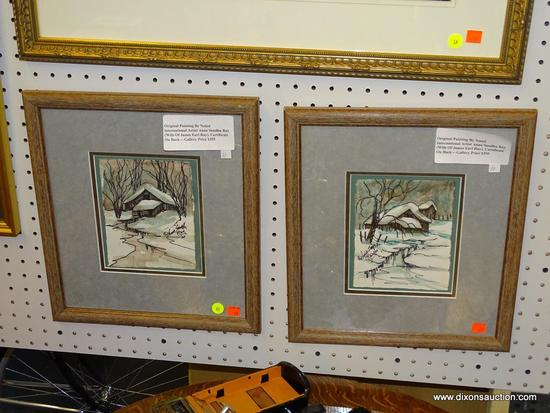 (WALL1) (WALL) SET OF ANNA SANDHU RAY PAINTINGS; THIS IS A SET OF TWO ORIGINAL PAINTINGS BY