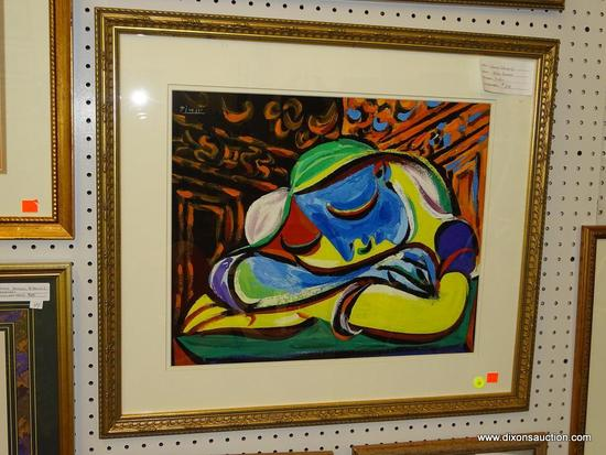 """(WALL1) PABLO PICASSO """"WOMAN SLEEPING""""; PROFESSIONALLY FRAMED PABLO PICASSO """"WOMAN SLEEPING""""."""