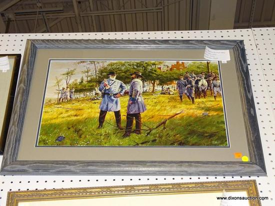 """(WALL1) """"TOMORROW WE MUST ATTACK"""" BY DALE GALLON; SIGNED DALE GALLON CIVIL WAR PRINT """"TOMORROW WE"""