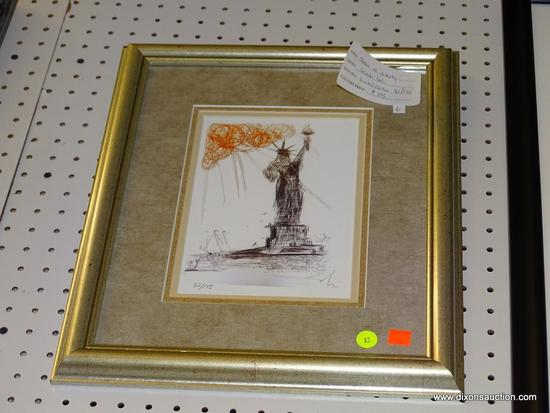 """(WALL1) """"STATUE OF LIBERTY"""" BY SALVADOR DALI; SIGNED AND NUMBERED LIMITED EDITION GICLEE 32/175."""