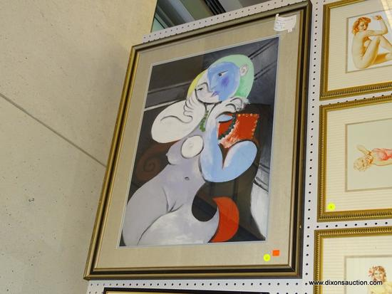 """(WALL1) PABLO PICASSO """"NUDE WOMAN IN RED ARMCHAIR""""; PROFESSIONALLY FRAMED PABLO PICASSO """"NUDE WOMAN"""