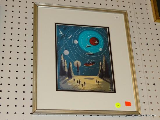 (WALL1) FRAMED MID CENTURY MODERN SPACE CATS GOMEZ PRINT; THIS IS A MID CENTURY MODERN PRINT BY