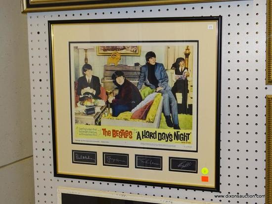 """(WALL1) THE BEATLES """"A HARD DAY'S NIGHT"""" PRINT; THIS IS A FRAMED PRINT FROM THE BEATLES """"A HARD"""