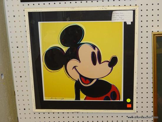 """(WALL1) ANDY WARHOL """"MICKEY MOUSE""""; SIGNED ANDY WARHOL """"MICKEY MOUSE"""" ON A YELLOW BACKGROUND."""