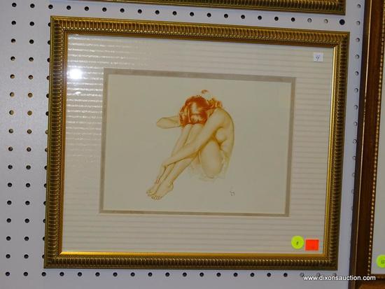 (WALL1) ALBERTO VARGAS PIN-UP GIRL PRINT; FRAMED PIN-UP GIRL PRINT BY ALBERTO VARGAS FEATURING A