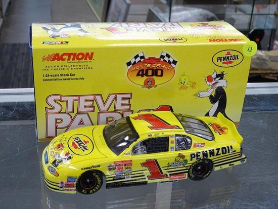 (R3) NASCAR 1:24 DIECAST COLLECTIBLE STOCK CAR; STEVE PARK #1 PENNZOIL LOONEY TUNES 2001 CHEVY MONTE