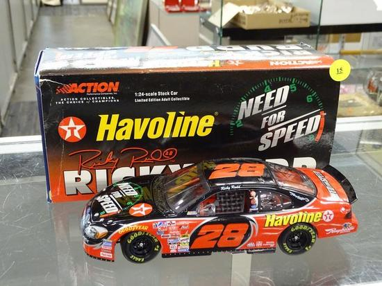 (R3) NASCAR 1:24 DIECAST COLLECTIBLE STOCK CAR; RICKY RUDD #28 HAVOLINE NEED FOR SPEED 2001 FORD