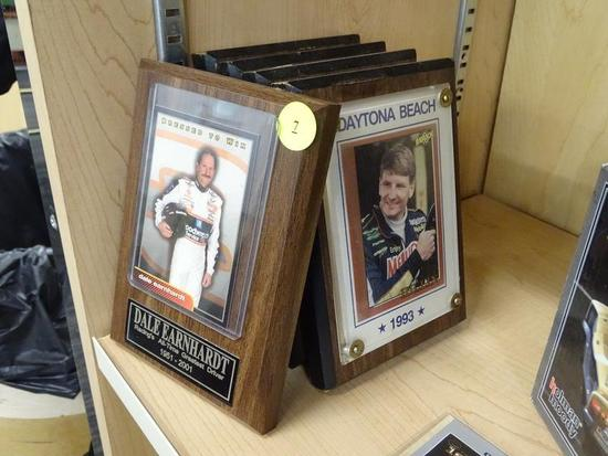 "(R2) NASCAR DRIVER PLAQUES; TOTAL OF 5 PIECES. 4 HAVE PORTRAIT-ORIENTED ""DAYTONA BEACH"" IMAGES OF"