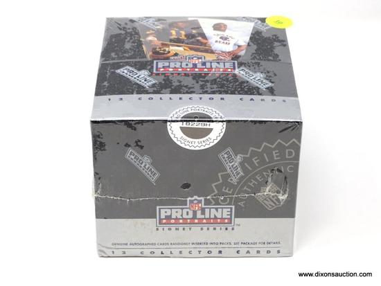 PROLINE PORTRAITS SEALED SPORT CARDS IN WAX BOX. GUARANTEED AUTOGRAPH CARD. 36 PKS/BOX. MEASURES 5
