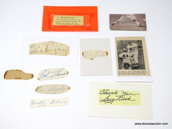 1940'S-1970'S HAND SIGNED CUT 3X5 IN AUTOGRAPHED BASEBALL PLAYERS. LOT OF 10.