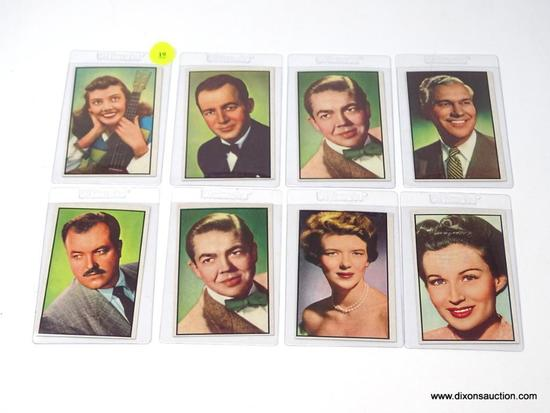 1950'S TV STARS COLLECTOR CARD LOT OF 8. AMAZING CONDITION.