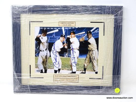HAND SIGNED MATTED FRAMED PHOTO OF N.Y.'S GREATEST CENTERFIELDERS, SNIDER, MANTLE, DIMAGGIO, AND