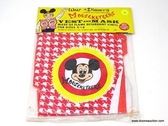 1960'S WALT DISNEY MOUSEKETERS COSTUME WITH MASK. SEAL IN ORIGINAL PACKAGING. MEASURES 9.5 IN X 13